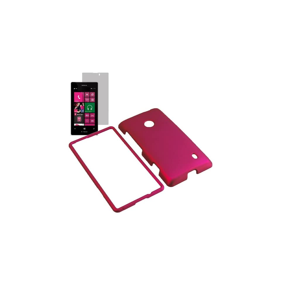 Aimo Hard Shield Shell Cover Snap On Case for T Mobile Nokia Lumia 521 + Fitted Screen Protector  Rose Pink Cell Phones & Accessories
