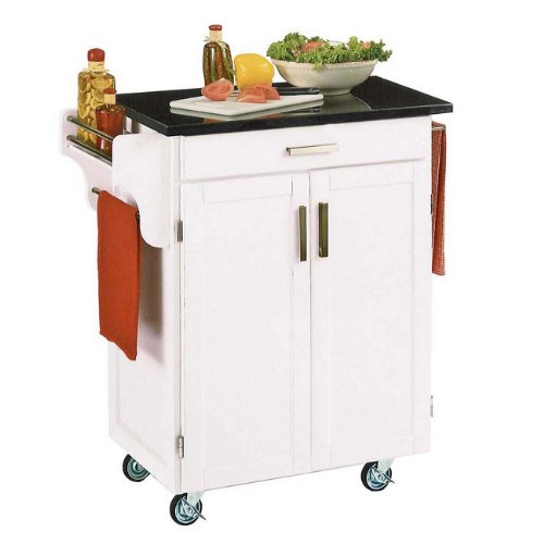 Cheap Homestyles 9001-0024 White Kitchen Cart with Black Granite Top (9001-0024)