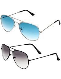 SHEOMY COMBO OF STYLISH SILVER BLUE AVIATOR GOGGLES AND BLACK WHITE AVIATOR SUNGLASSES WITH 2 BOX