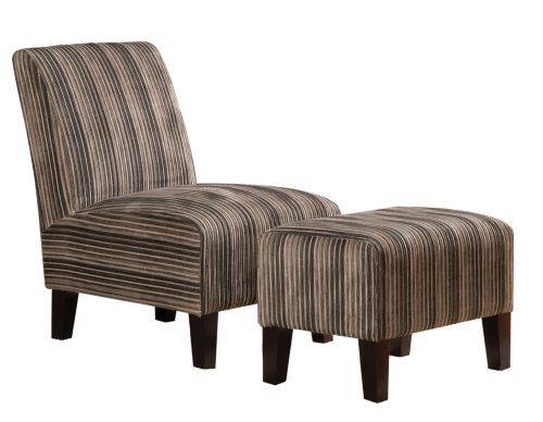 Homelegance Ione 484F1S 2-Piece Polyester Fabric Accent Chair and Ottoman Set, Beige Stripes