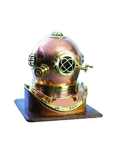Brass Diving Helmet on Wood