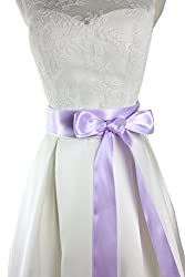 Simple classic colorful ribbon sash for daily dress formal and wedding dress (Lavender)