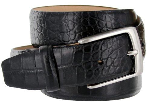 Joseph Italian Leather Alligator Embossed Designer Dress Belt for Men Silver Buckle (34, Black)