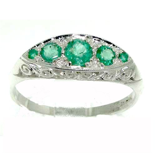 Sterling Silver Ladies Emerald 5 Stone Eternity Ring - Size L - Finger Sizes L to Z Available