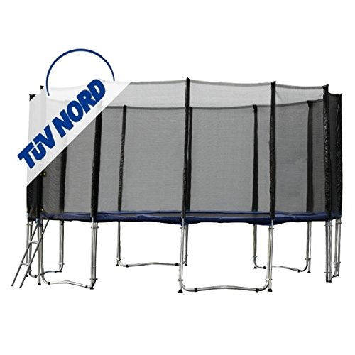 Gartentrampolin Trampolin Ø 487 cm – Ø 490 cm x 276 cm bis 180 kg, blau, Sicherheitsnetz mit 12 Stangen und Leiter jetzt kaufen