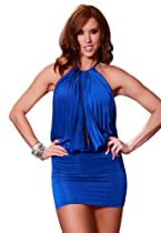 Intimates21 - Valentine's Day New Cowl Neck Sexy Open Back Clubbing Dress Ball Party Gogodance (Blue)