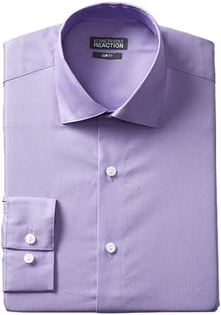 Kenneth Cole Reaction Men's Slim Fit Chambray Dress Shirt, Iris, 14.5 32-33