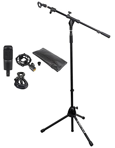 Audio Technica At2035 Side Address Cardioid Condenser Studio Microphone + Rockville Rvmic1 Telescoping Microphone Stand Dual Telescope Boom & Tripod Base + Hosa Econ-M20 Xlr Female To Xlr Male Mic Cable