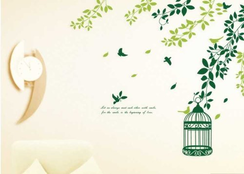 Yyone Fluttering Branches Of Leafs Birds And A Birdcage Wall Sticker Super For Bedroom Wall Decor