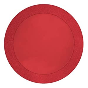 "Creative Converting Glitz Red Round Paper Placemats with 2"" Glitter Border, 8 Count"