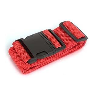Plastic Release Buckle Adjustable Nylon Luggage Strap Belt Band Red