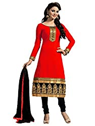 Aasvaa Womens Cotton Salwar Unstitched Dress Material (Red)
