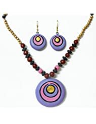 DollsofIndia Hand Painted Mauve With Pink Terracotta Necklace With Disc Pendant And Earrings - Terracotta - Purple...