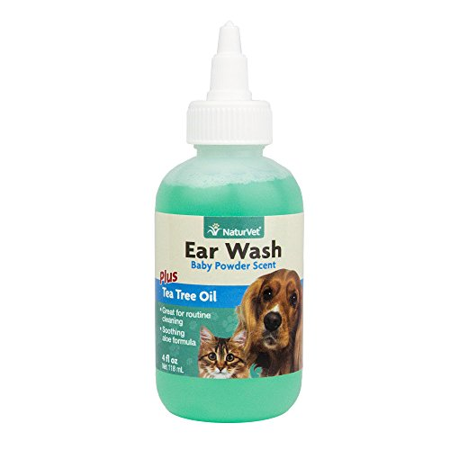 NaturVet EAR WASH Tea Tree Oil with Aloe Cleans Ear Canal For Dogs Cats 118 ml