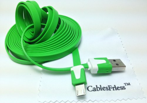 Green 10Ft ( 10 Feet 10' ) Tangle Free Noodle Style Micro B Usb Charging / Data Sync Cable Fits Android Samsung Galaxy Htc Lg Pantech Blackberry Motorola Sony Zte