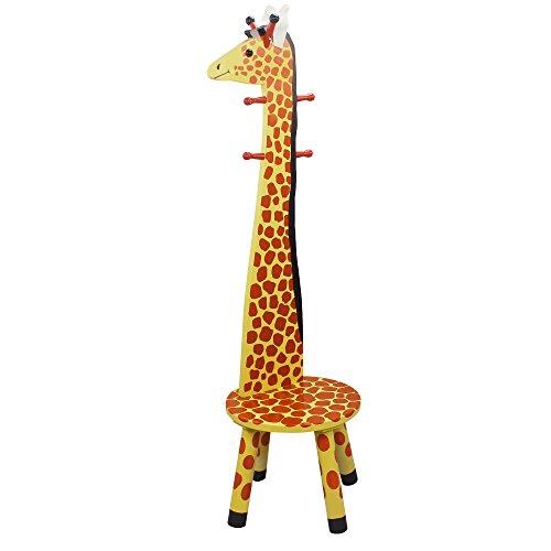Teamson Kids - Safari Stool with Coat Rack - Giraffe