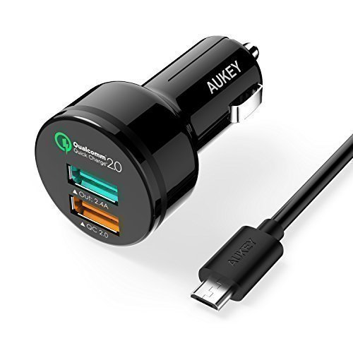 AUKEY-30W-2-Port-USB-Car-Charger-with-Qualcomm-Quick-Charge-20-Technology-AiPower-Adaptive-Charging-Technology-Includes-a-33ft-Quick-Charge-Micro-USB-Cable-Black
