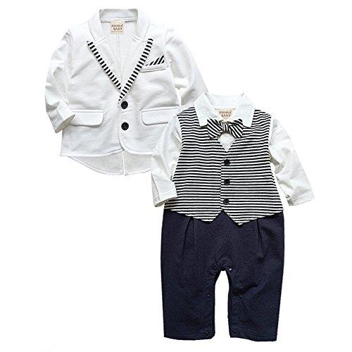 ZOEREA 2pcs neonati Signori pagliaccetto + Coat Wedding Tuxedo Abiti Battesimo