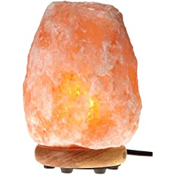 WBM Himalayan Glow Hand Carved Natural Crystal Himalayan Salt Lamp with Genuine Neem Wood Base, Bulb and Dimmer Control, 8-to-9-Inch, 8-to-11-Pounds