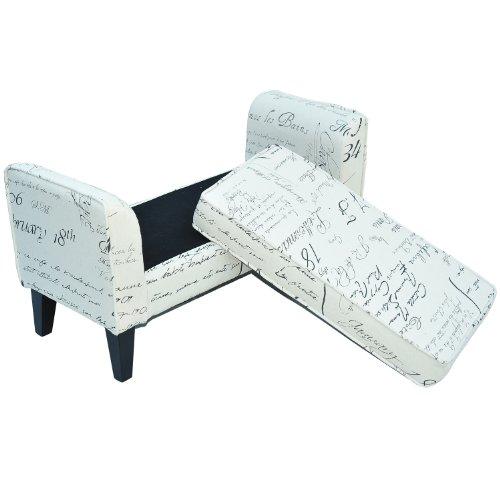 HomCom Modern Linen Signature Print Arm Bench