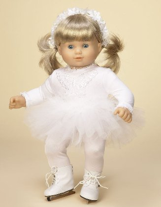 Buy Low Price Doll Factory White Ice Skating Costume. SKATES INCLUDED! COMPLETE Outfit, Fits 15″ Dolls Like Bitty Baby® and Bitty Twin® Figure (B002MNBJ1C)