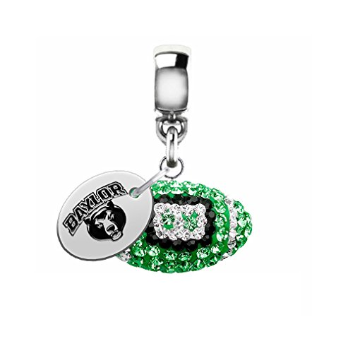 Baylor Bears Crystal Crystal Football Drop Charm Fits All European Style Bracelets