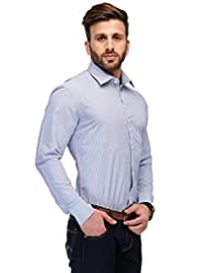 Edjoe Men's Sky Blue Check Slim Fit Casual/Party Wear Shirt