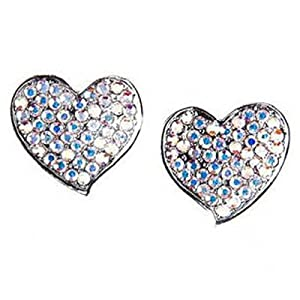 Butler & Wilson Crystal Heart Pave Stud Earrings