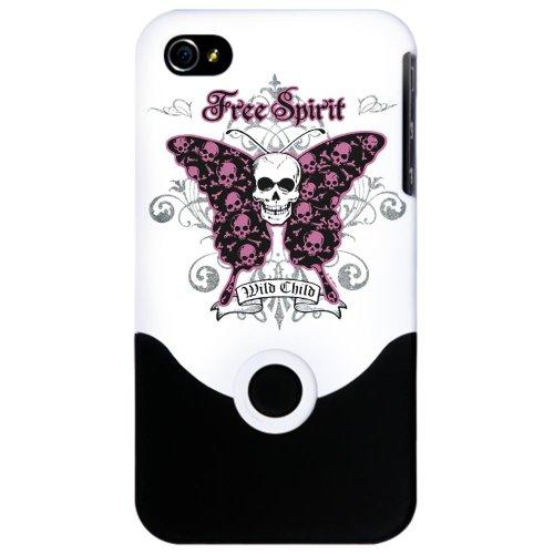 iPhone 4 or 4S Slider Case White Butterfly Skull