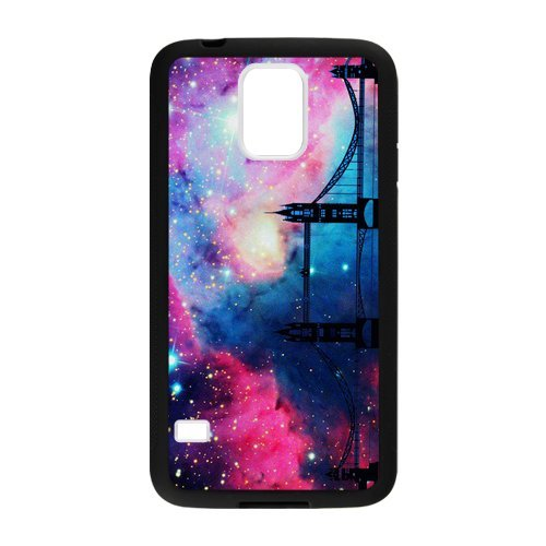 Cosmic Space Nebula with Golden Gate Bridge Custom Laser Technology Print Images Samsung Galaxy S5 TPU Case