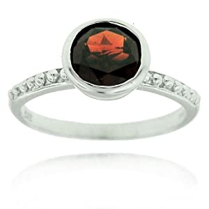 Stackable Garnet Gemstone Sterling Silver Ring 7mm Round Genuine Birthstone of January