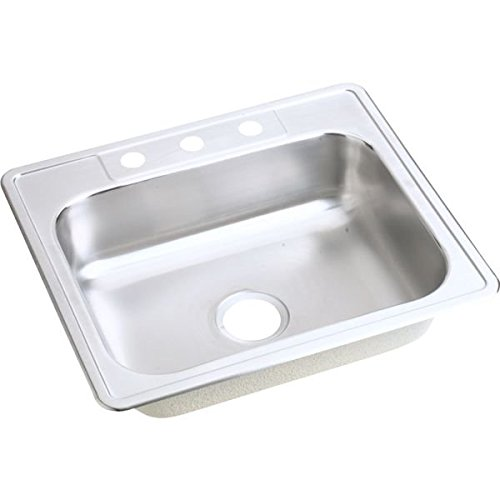 Elkay D1252233 Dayton 25-Inch by 22-Inch Stainless Steel Single Bowl Three-Hole Kitchen Sink, Satin Finish (Elkay 25 Sink compare prices)