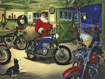Cheap SunsOut Tom Newsome Motorcycle Santa 500pc Jigsaw Puzzle (B001YJYPM0)