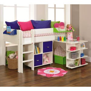 Stompa Uno 1A Mid Sleeper Bed With Desk 1 X Cube Unit