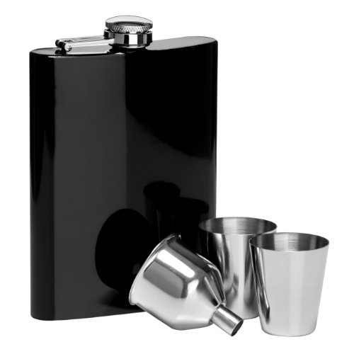 Premier Housewares Hip Flask Set, 8 oz, Black Gloss