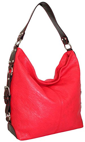 punto-uno-top-zip-bucket-bag-with-gusset-belting-detail-red