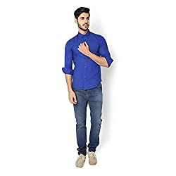 STRAK Mens' Pure Cotton Navy Blue Solid Tee Designer Apple Cut Style Shirt With Full Sleeve Size:-XL/44