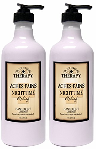 Village Naturals Therapy Aches and Pains Nighttime Relief Hand and Body Lotion 16 Oz. 2 Pack