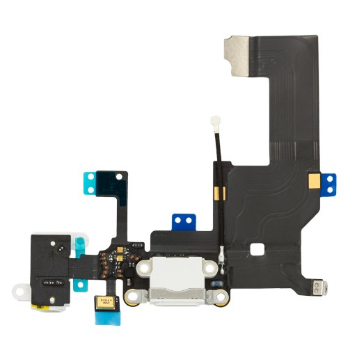 White Iphone 5 Charging Port Microphone & Headphone Jack Flex Replacement Part Cellfixrepairs