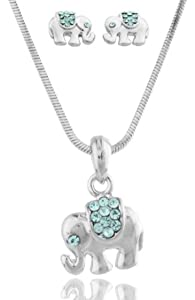JOTW Colored Rhinestone Elephant Pendant with 16 Inch Snake Chain Necklace and Earrings Matching Jewelry Set (Light Blue)