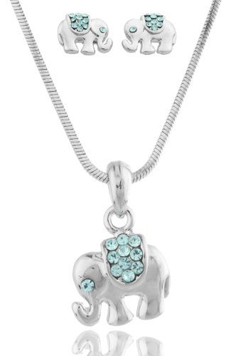 Colored Rhinestone Elephant Pendant With 16 Inch Snake Chain Necklace And Earrings Matching Jewelry Set (Light Blue)