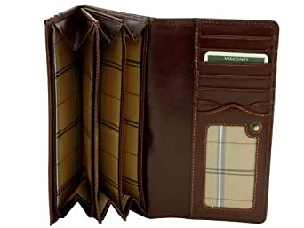 Visconti Monza 10 Ladies Large Soft Leather Checkbook Wallet (Brown)