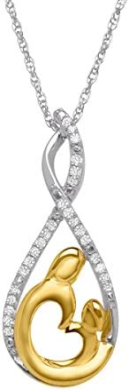 1/8 ct Diamond Mother & Child Pendant Necklace