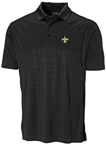 NFL New Orleans Saints Mens CB DryTec Sullivan Embossed Polo, Black by Cutter & Buck