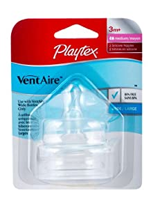 Playtex VentAire Natural Shape Nipple, 2 Pack, Medium Flow