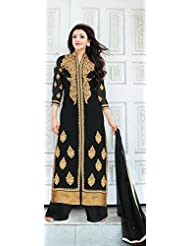 Fabfiza Black Georgette Embroidered Semi-Stitched Straight Suit