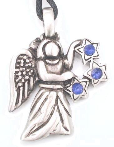 BLUE RHINESTONE STARS ANGEL PEWTER Pendant Necklace