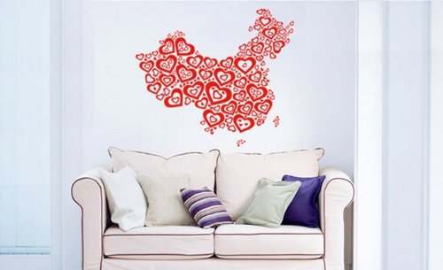 PeelCo Red Hearts Wall Decal Sticker for Home Decor