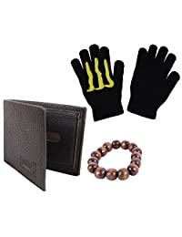 Leather Black Wallet Combo Mani Wrist Band & Hand Gloves