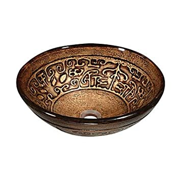 Brown Round Tempered glass Vessel Sink